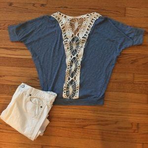 Tops - Crochet Back Dolman Sleeve Blouse